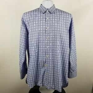 John W Nordstrom 120s 2 Ply Blue Check Plaid Shirt